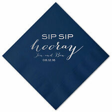 100 Personalized Napkins SIP SIP HOORAY 3 Ply Napkins Cocktail Beverage