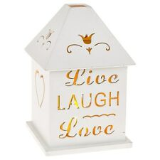LIVE LAUGH LOVE ~ SHABBY CHIC LIGHT UP LED CANDLE & LANTERN IN WHITE~LOVELY GIFT