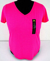 XERSION Size 1X Neon Pink Top Bold Pink V-Neck Quick Dri Short Sleeve NEW TAGS