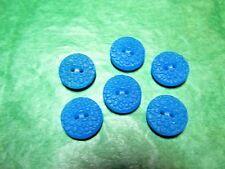 """(6) 1/2"""" CZECH PATTERNED BLUE GLASS 2-HOLE BUTTONS VINTAGE LOT (S604)"""