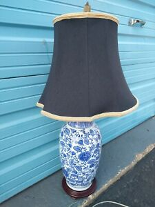 Beautiful Bell Shade Ceramic Chic Blue White Floral Print Table Lamp NavCotton