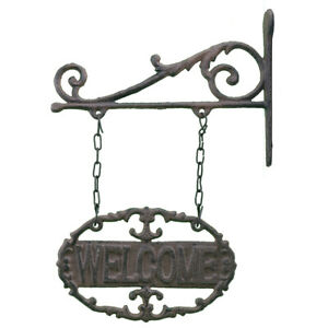 "Double Sided Hanging Welcome Sign Ornate Cast Iron 7.25"" Wide"