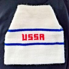 USSR true Vintage Rare Russian White,Blue and Red Winter hat in great condition!