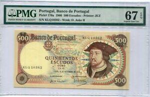 Portugal 500 Escudos 1966 P 170 a Superb Gem UNC PMG 67 EPQ