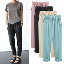 Womens Elastic High Waist Casual Trousers Loose Drawstring Harem Pants Summer