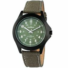 Peugeot Black Aviator 24Hr Time Markers Green Canvas Strap Watch 2055GR