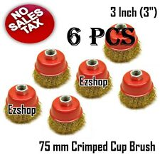 """(6pcs) 3"""" THREADED CRIMP CUP WIRE WHEEL BRUSH 5/8'' FOR ANGLE GRINDER"""