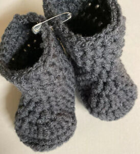 Baby boots booties dark gray 3-6 month crochet knit handmade new shower gift
