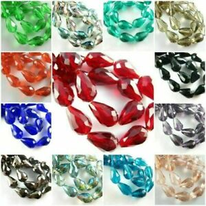 20Pcs Crystal Tear Drop Glass Loose Spacer Beads DIY Jewelry Making 10x15mm