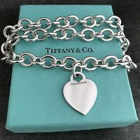 Tiffany & Co Sterling Silver Engravable Blank Heart Tag Necklace with Box