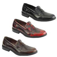 Mens Vintage Retro Polished Leather Lined Smart Casual Penny Loafers MOD Shoes