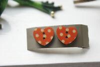Novelty Wooden Button Earrings