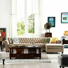 3PCS French Chesterfield Tufted Sectional Sofa, Linen Fabric, Scroll Arms (Left