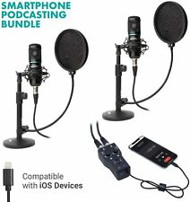 Movo Podcast Bundle for 2 - Includes Microphones and Interface + More for iPhone