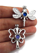 21679 2pcs/set  Silver Butterfly Dragonfly Pearl Bead Cage Locket - Bulk Sale