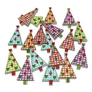 40 WOODEN MIXED CHRISTMAS TREE BUTTONS - XMAS - CRAFT - SCRAPBOOK - SEW - CARDS