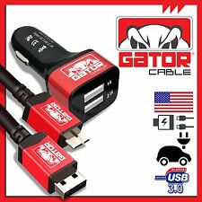 Micro USB 3.0 Gator Cable +Dual Port Car Charger Data SYNC Galaxy S5 Note 3 6FT