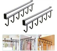 2 Pcs Under Shelf Coffee Cup Mug Holder Hanger Storage Rack Cabinet Hook Kitchen