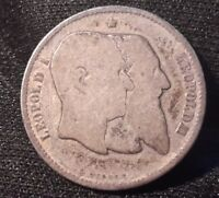 1880 Belgium 1 Franc Silver Coin Anniversary of Independence KM#38 50th anniv.