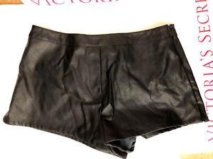 Victoria's Secret Black Faux Leather Shorts NWT