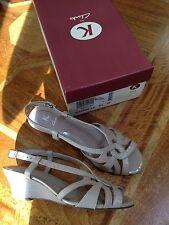Clarks 'Steeple Jack' Leather Wedge Sandals Oyster UK 5.5