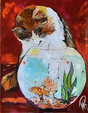 New ListingMarina Rehrmann Original Acrylic Painting, Cat & Fish Catch art 28 x 22 🧿🧿🧿🧿