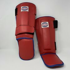 Combat Sports Red Hook & Loop MMA Training Shin Guards Pads Size Regular