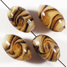 Set of 4 Beads Oval Glass Lampwork Murano 10 x 16mm Brown