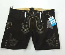 Schöneberger Bavarian German Lederhosen Brown Oktoberfest Leather Shorts Sz 46