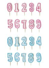 GLITZ RANGE (2 Colours) GLITTER MOULDED CAKE CANDLE (Birthday/Party) Numbers 0-9