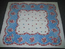 RED WHITE BLUE HEAVY COTTON  RED POPPIES TABLECLOTH 30x34