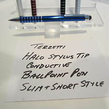 TERZETTI HALO-CT-SLIM/SHORT BLUE BALLPOINT PEN-CONDUCTIVE TOP-USE MINI REFILL