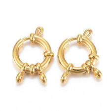 10 pcs Golden 304 Stainless Steel Spring Ring Clasps Jewelry Findings 23x14x4mm