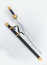 Folded Steel Chinese Sword JIan with Zitan Wood Scabbard & Gold Plated Fittings