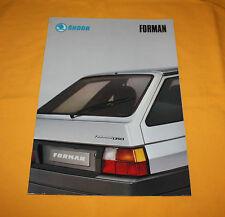 Skoda Forman 1991 Prospekt Brochure Depliant Catalog Prospetto Folder Prospecto