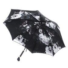 Alexander McQueen niederländischen Floral Schwarz Skull Griff Regenschirm Nagelneu