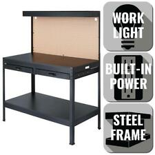 Olympia Workbench Built-In Power Lighting Rugged Steel Black 4 ft x 5 ft x 2 ft
