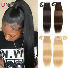 One Piece 100% Human Hair Wrap Around Ponytail Clip In Hair Extensions Blonde 8A