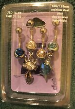 New Claire's Set Of Four Dangling Cat and Fish Belly Rings Stainless Steel 14g