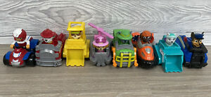 Paw Patrol Set Of 8 Mini Vehicles With Built In Figures Ryder, Everest, Skye Etc