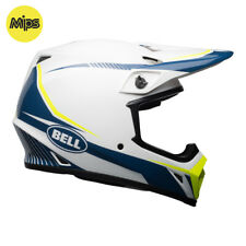 BELL MX-9 MIPS MOTOCROSS MX BIKE HELMET - WHITE / BLUE / YELLOW