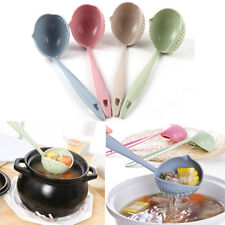 Home 2 in 1 Soup Spoon Long Handle Dinnerware Kitchen Cooking Utensils Tools