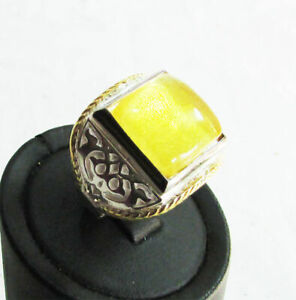 925 Sterling Silver Men's Jewelry Baltic Amber Stone Handcrafted Man Ring