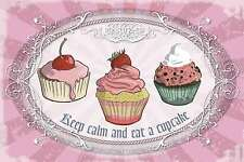 Blechschild - KEEP CALM AND EAT A CUPCAKE COLLAGE SHABBY CHIC 20x30 cm 23064