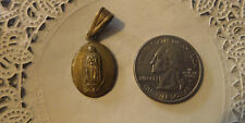 Vintage Religious antique sterling silver gold plate Medal -Mary #81