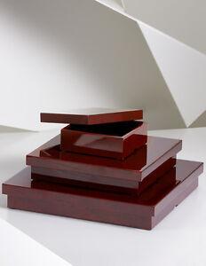 "NATORI Tortoise Red Large Lacquer Square Box  17"" X 17"" X 2.5"" New $250"