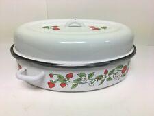 """Vintage Enamel Roasting Pan & Lid White With Strawberries 15"""" x 10"""""""