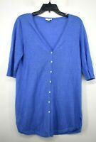 J Jill Womens Blue V Neck Button Front Short Sleeve Linen Sweater Cardigan XS