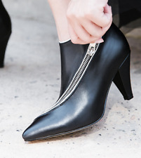 Formal Hot Women Pointed Toe Zipper Ankle Boots Med Kitten Heels Stilettos Shoes