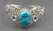 925 Sterling Silver Tested Blue Stone Cuff Bracelet